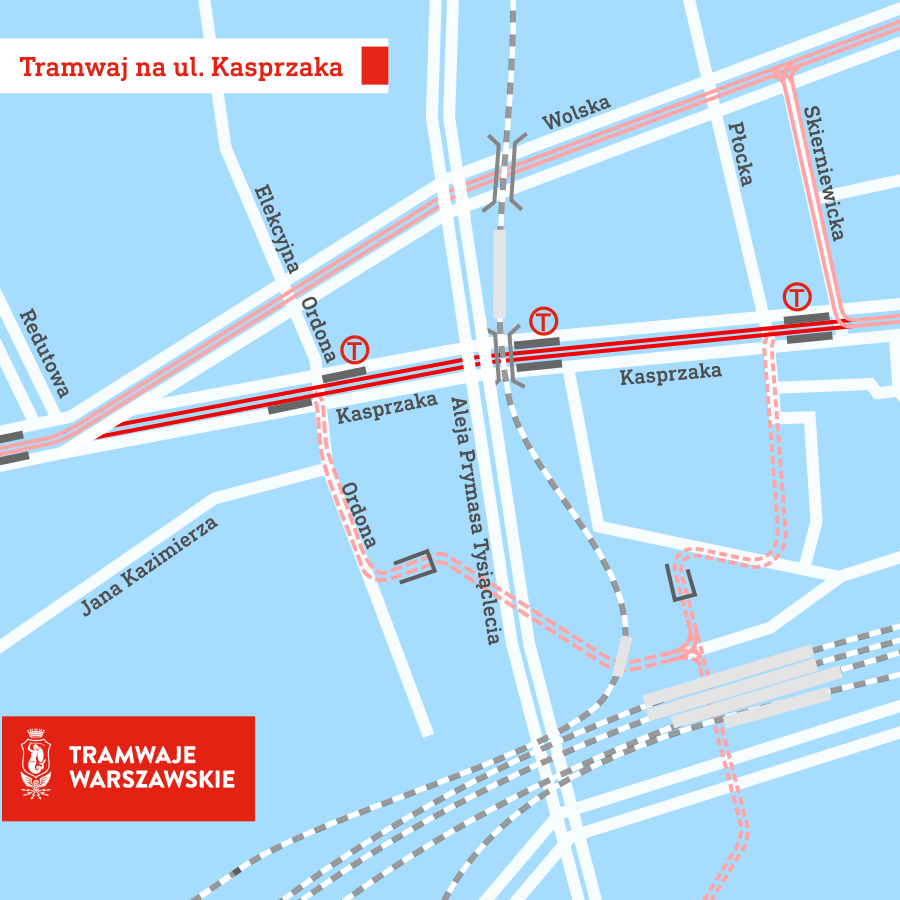 Mapa Tramwaj Kasprzaka